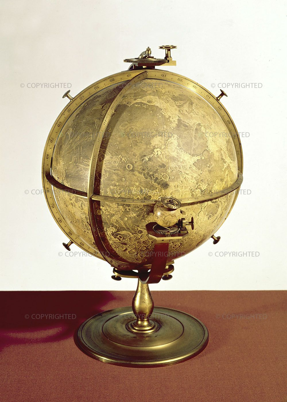 John Russell (1745-1806)  Selenographia, London, 1797-1805  London, Science Museum, inv. 1949-117    This is the oldest three-dimensional representation of the Moon. It consists of a lunar globe and a small terrestrial globe. A mechanism allows it to simulate the motion of the Moon's libration.