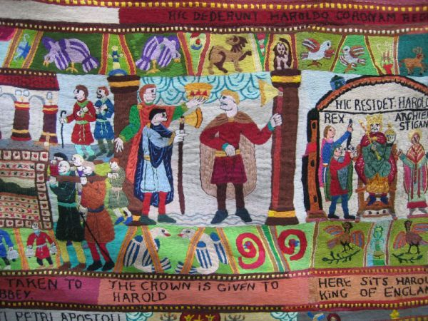 The modern version of the Bayeux Tapestry, made by very talented embroideress Annette Banks is absolutely marvellous!  Bayeux Tapestry by Annette Banks, Harold takes the crown © essentially-england.com