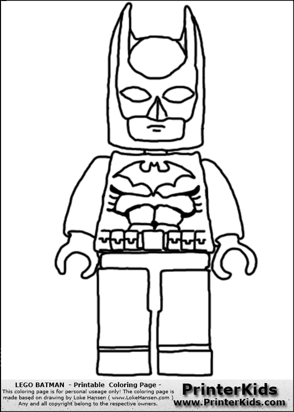 Lego batman front view coloring page