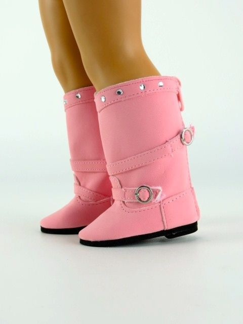 """PINK Buckles /& Rhinestones DOLL BOOTS SHOES fits 18/"""" AMERICAN GIRL Doll Clothes"""
