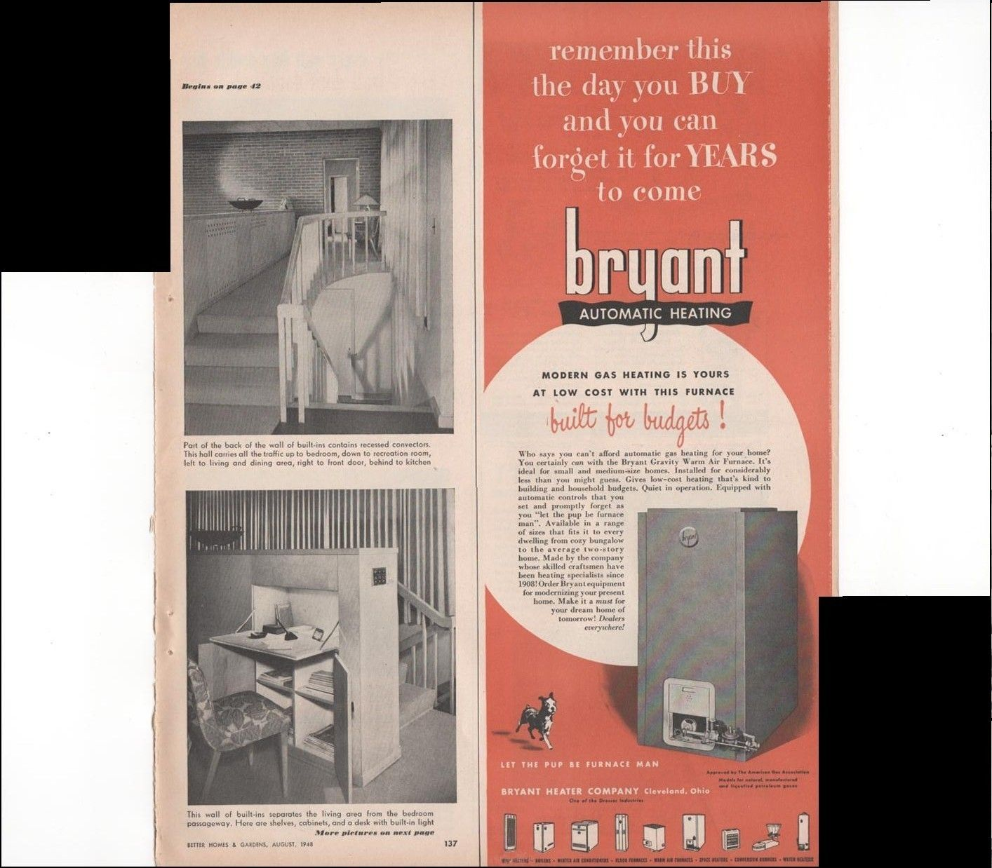 Bryant Automatic Heating Air Conditioner Home 1948 Vintage Antique Advertisement Gas Heating Heating Ventilation Air Conditioning Vintage Ads