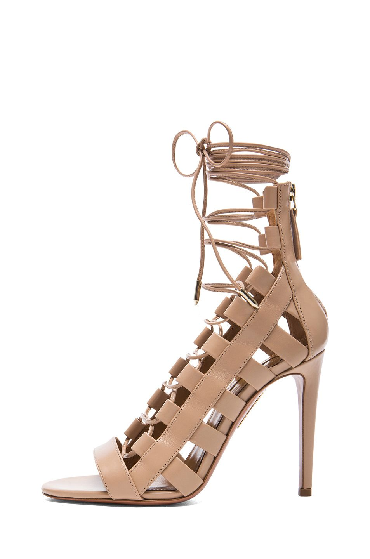 AQUAZZURA AMAZON NUDE leather high heels strappy peep toe