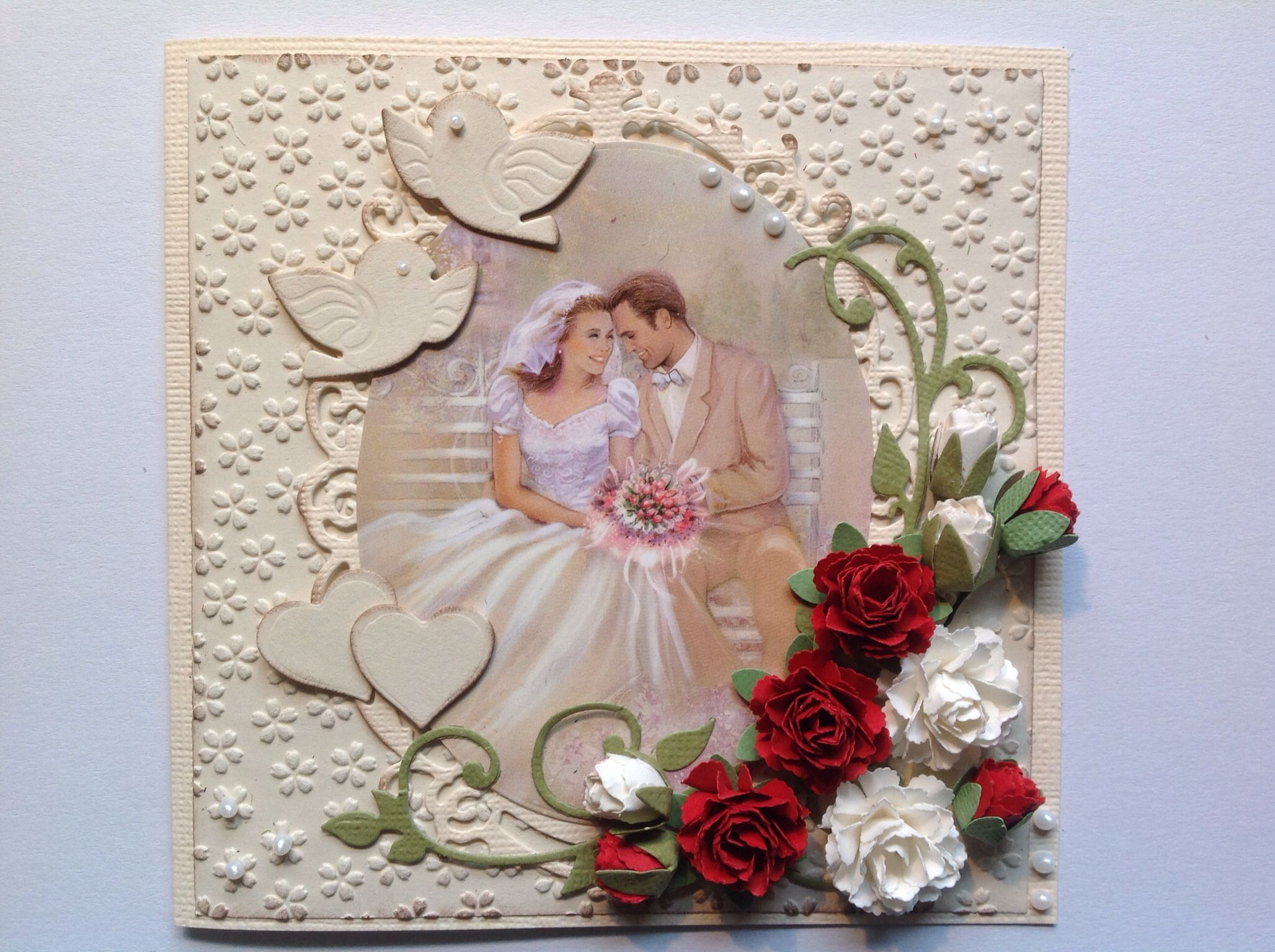 Бумажная свадьба скрапбукинг открытка