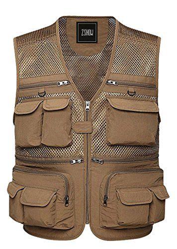 Mens Multi Pockets Fishing Mesh Vest Photography Camping Jacket Zipper Waistcoat