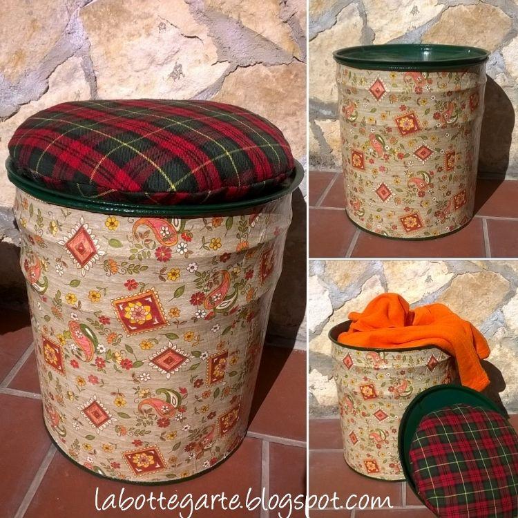 La bottegarte pouf contenitore fai da te idee per la for Pouf fai da te