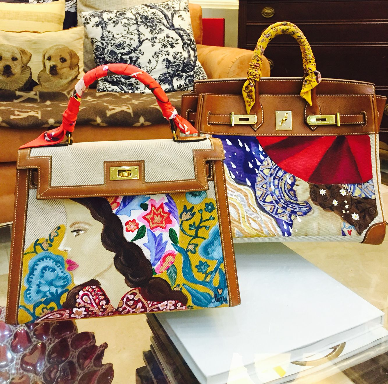 f4dfdf13875d Hand painted Hermes bags by artist love Marie aka heart  evangelista-Escudero ❤️
