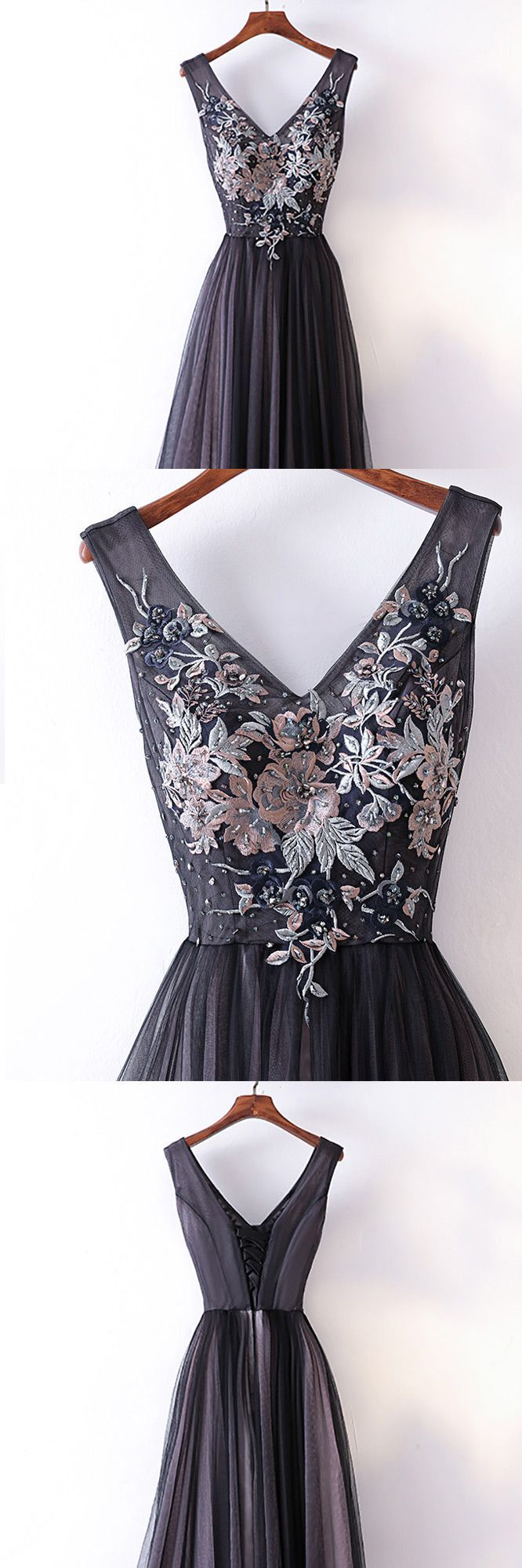 Different long black vneck cheap prom dress with lace myx
