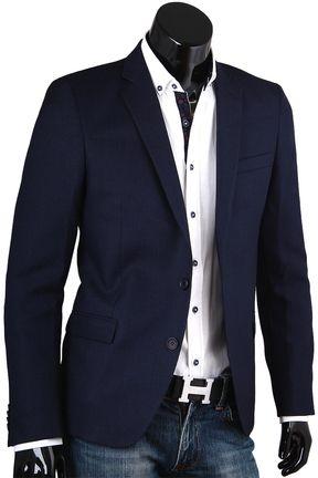 Купить Строгий мужской пиджак под джинсы синего цвета фото недорого в Москве 445addf1344