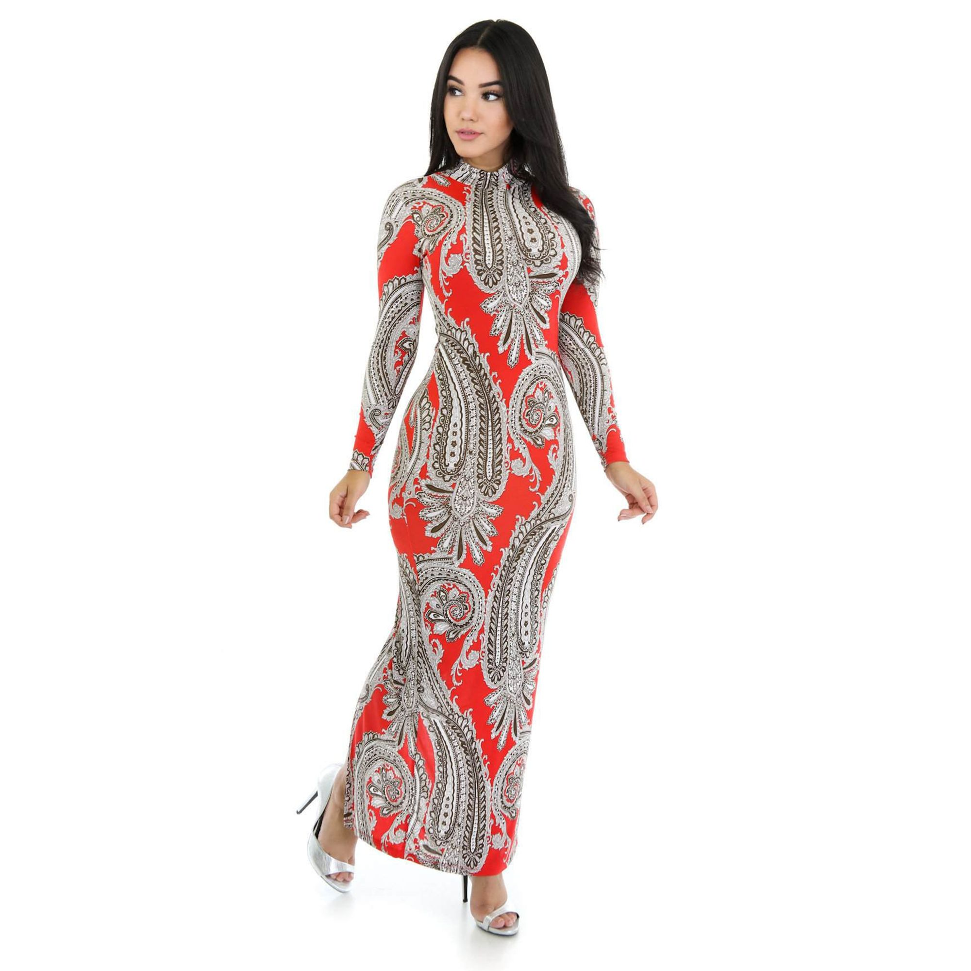 Bandana dragon oriental styled long sleeve maxi dress oriental