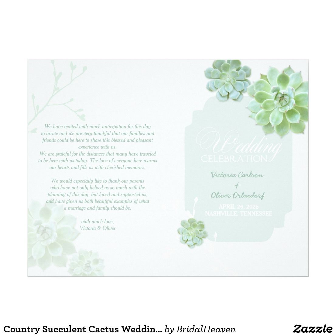 Country Succulent Cactus Wedding Bi Fold Program Flyer Gorgeous And