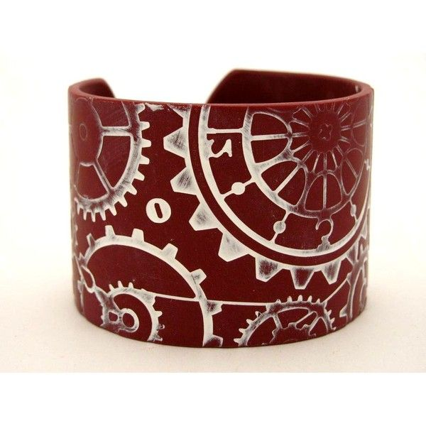 Cuff Bracelet Steampunk Polymer Clay Jewelry Cogs Gears Wide Cuff Hand... ($18) ❤ liked on Polyvore featuring jewelry, bracelets, steampunk, accessories, bangle cuff bracelet, clay jewelry, hinged cuff bracelet, silver plated cuff bracelet and cuff jewelry