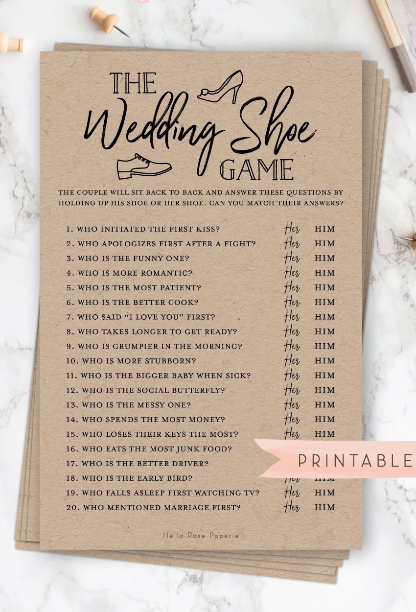 The Wedding Shoe Game . Bridal Wedding Couples Shower . Engagement Party . Printable Instant Download . Rustic Kraft PLUS Black and White #shoegame