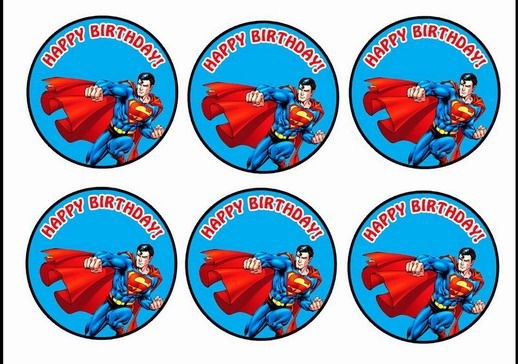 Superman Cupcake Toppers Birthday Printable Cupcake toppers