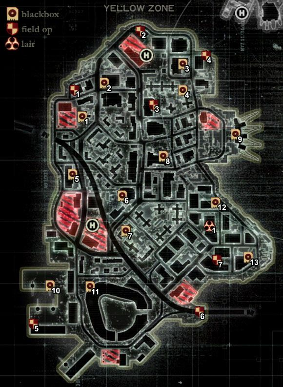 MAP OF THE GREEN ZONE  Maps of New York  Secrets  Prototype 2