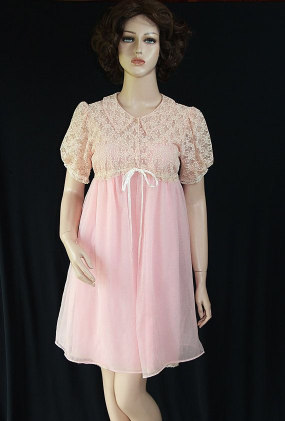 8c0704ee5 60s Lingerie   Peignoir   Wedding Trousseau   Pink   Babydoll   Mad Men    Mary Barron
