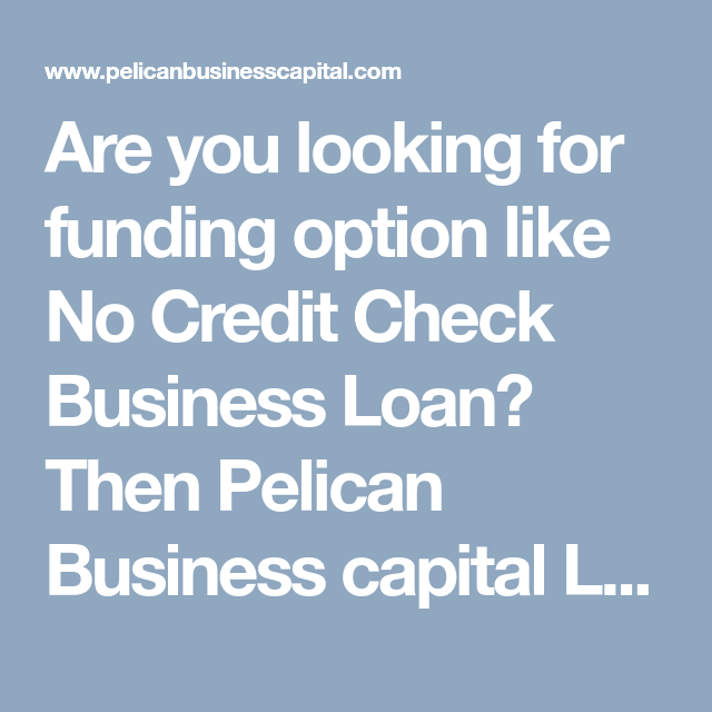 Are You Looking For Funding Option Like No Credit Check Business Loan Then Pelican Business Capital Loan Is T Business Capital Business Loans Bad Credit Score