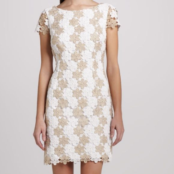 Brand new lilly Pulitzer dress Delicate lace white and gold flowered dress with cap sleeves Lilly Pulitzer Dresses