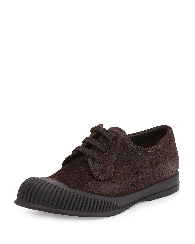 wholesale dealer 8bacd dfdf2 Prada Mud-Guard Suede Low-Top Sneaker, Brown, Mens, Size 7.58.5D