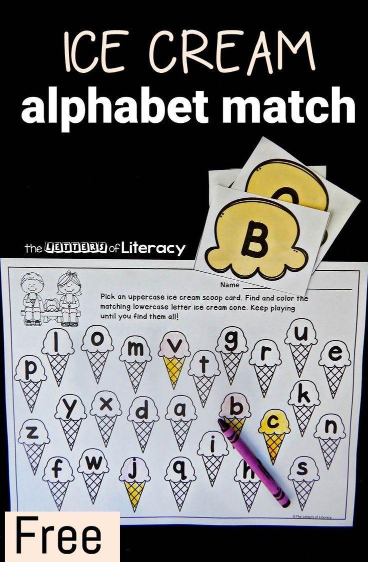 ice cream alphabet match Letter identification