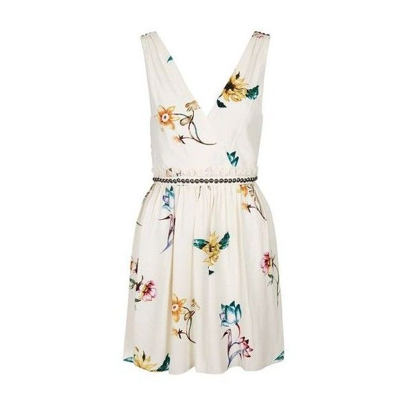Topshop floral wrap front sun dress 64 liked on polyvore topshop floral wrap front sun dress 64 liked on polyvore featuring dresses cream floral sundress sun dresses v neck skater dress white dress and mightylinksfo