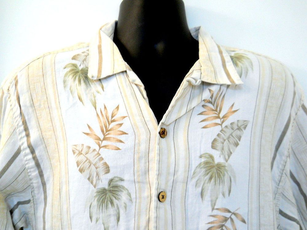 Hilo Hattie Hawaiian Shirt Medium Linen Green Stripes Palm Trees ...