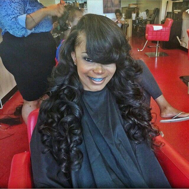 Side Part Sew In W Deep Bangs Hair Work 2 Hair Styles