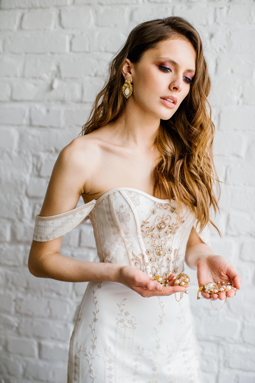 Wedding dresses with gold  Wedding dress uMARGARETu Exquisite golden french lace wedding dress