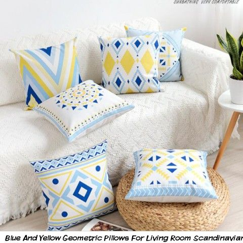 Admirable Blue And Yellow Geometric Pillows For Living Room Dailytribune Chair Design For Home Dailytribuneorg