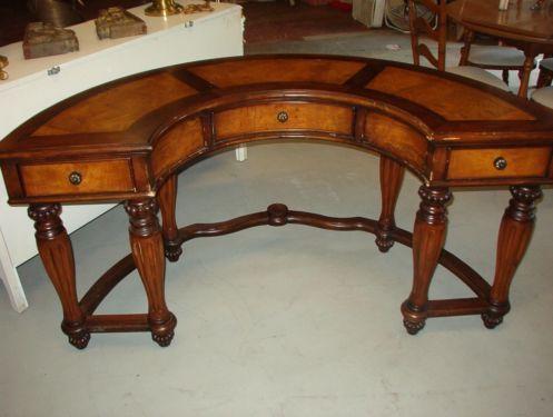 Semi Circle Half Moon Desk With 2 Tone Burl Finish Furniture