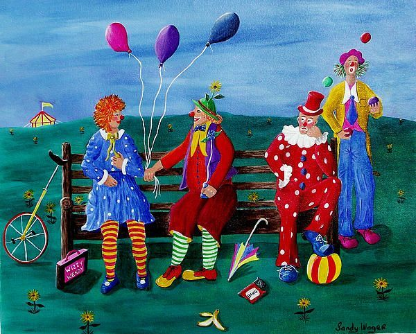 Sandy Wager.  The Clowns. SOLD