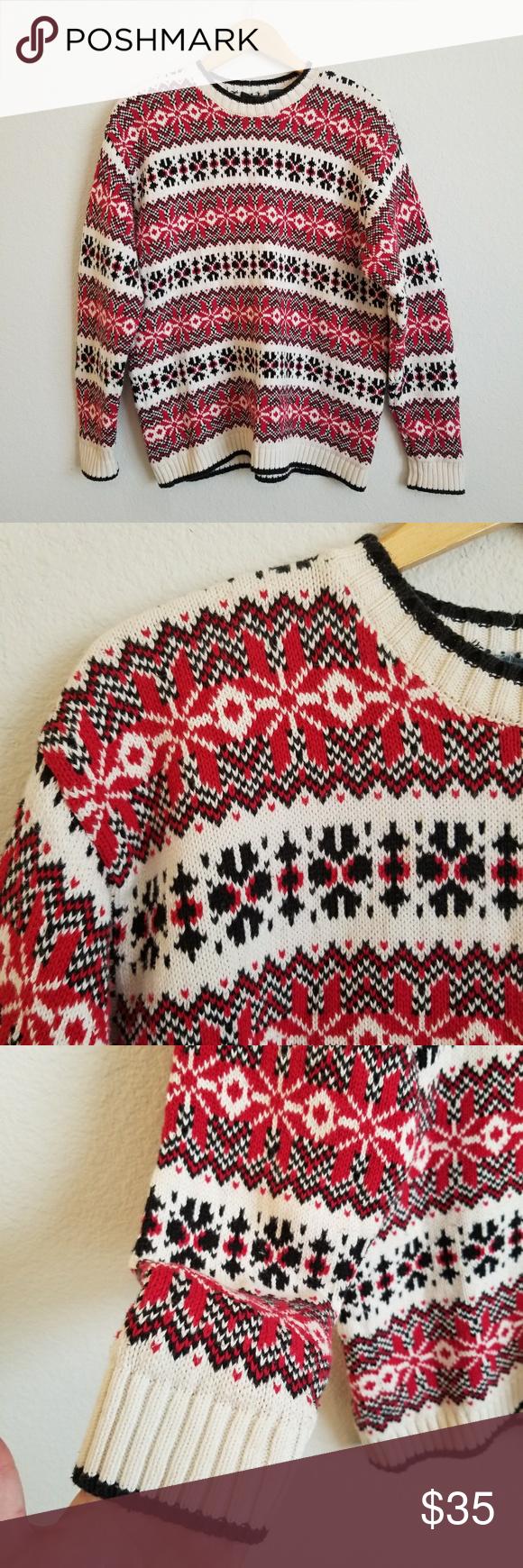 Vintage Oversized Knit Poinsettia Pattern Sweater Vintage ...