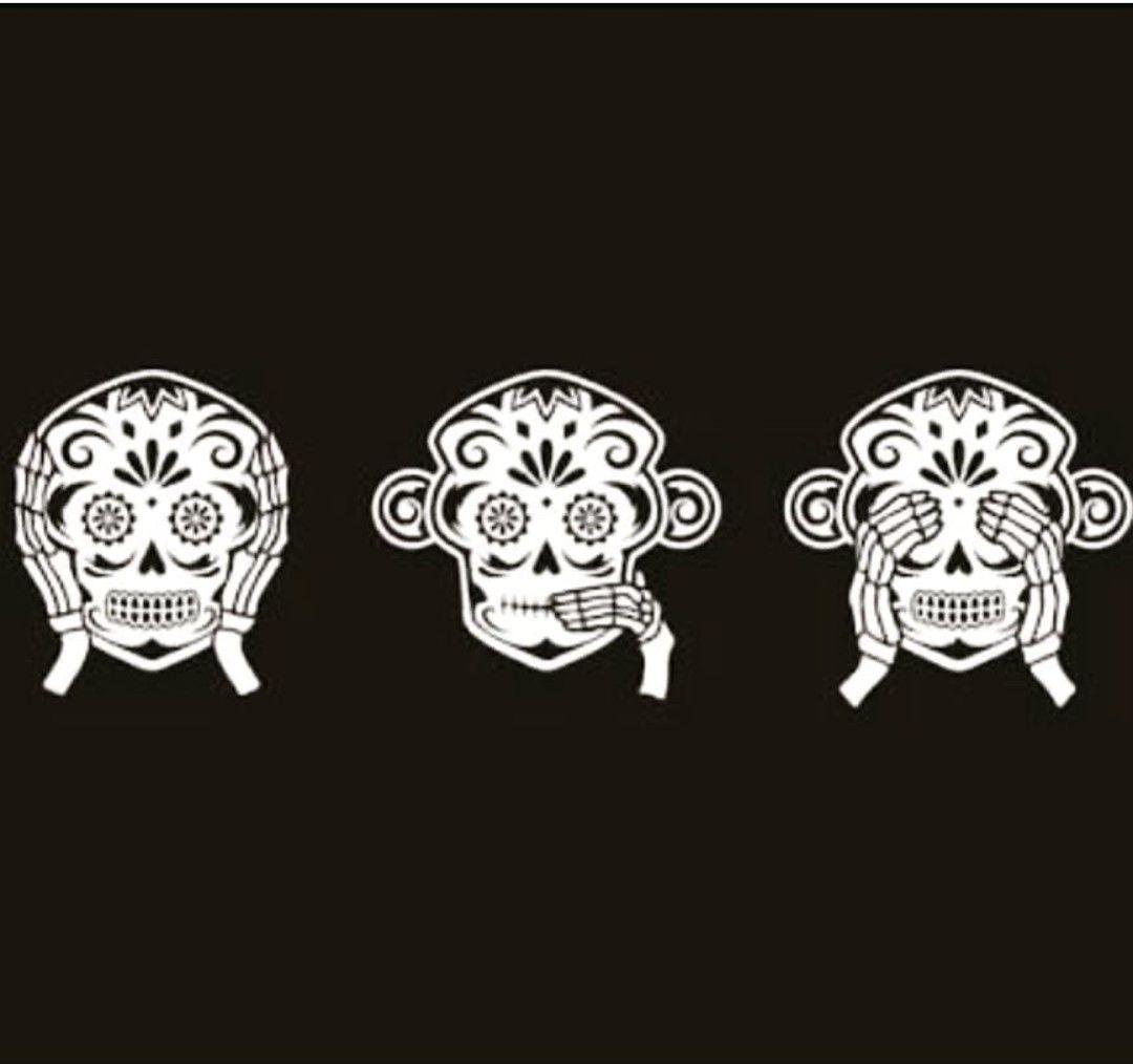 3 Monos Sabios Tatuajes dia de muertos..   tres monos sabios, tatuajes de moños
