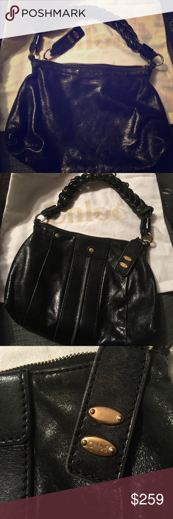 31060e9c82b SALE👜CHLOÉ Heloise hobo Guaranteed authentic preowned Chloé small black Heloise  hobo with detachable shoulder