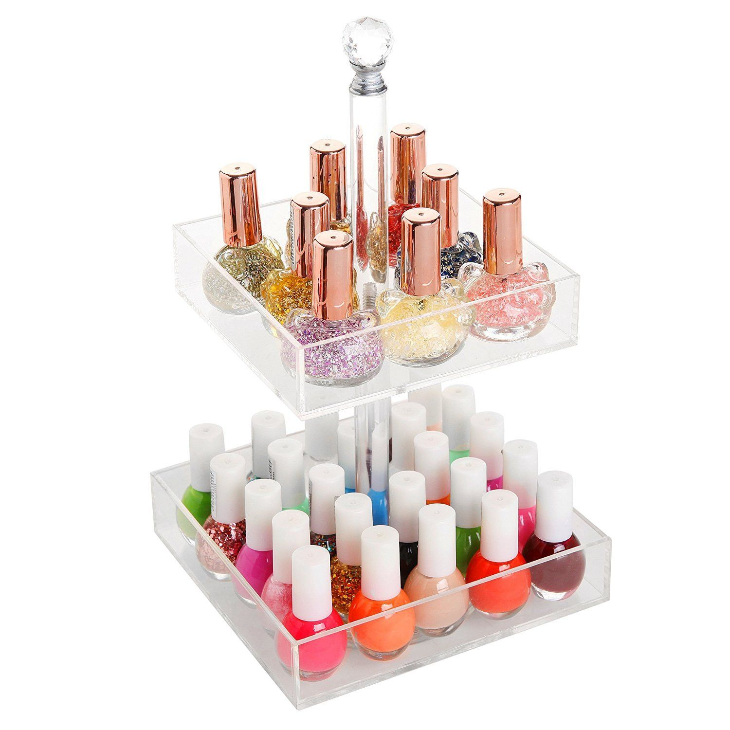 Rotating Clear Acrylic 2 Tier Nail Polish Cosmetics Organizer Display