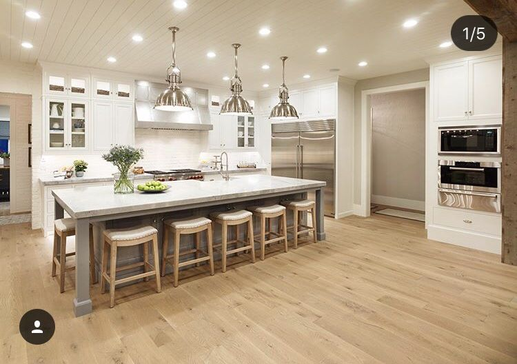 Modern Farmhouse Kitchen White And Gray Cabinets Natural Wood