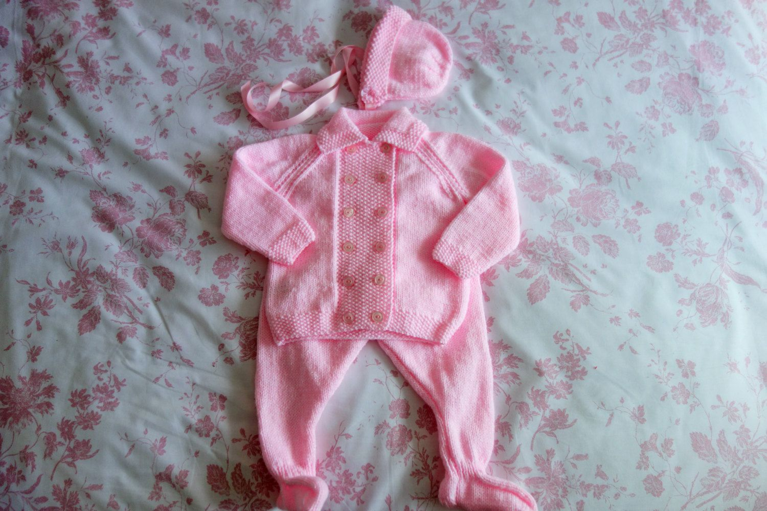 5eeb25bcd749 Hand knitted baby girl s pink pram set consisting of leggings ...
