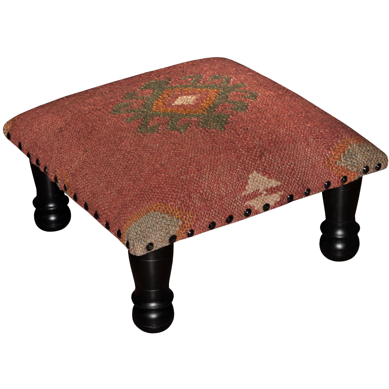 Handmade Herat Oriental Tribal Kilim Upholstered Footstool Rustic