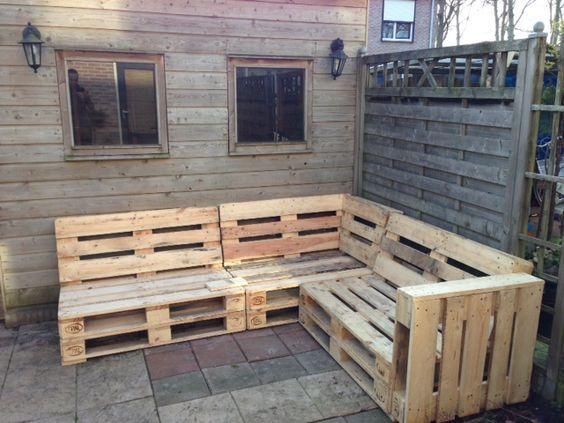 Diy Budget Loungebank : Loungebank van pallets tuinbanken banks