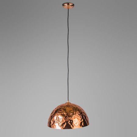 Lámpara colgante DENTS 40 cobre - Hermosa lámpara en color cobre mate. Esta lámpara tiene un diseño elegante a la vez que sencillo. Tiene unos acabados especiales que le dan un carácter único. A destacar un bonito detalle: esta lámpara cuelga de un cable de hierro negro,lo que le da un aspecto totalmente contemporáneo.