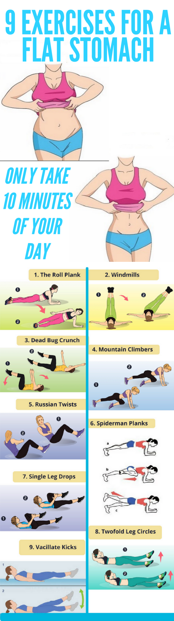 9 Exercises For A Flat Stomach, Only Take 10 Minutes Of