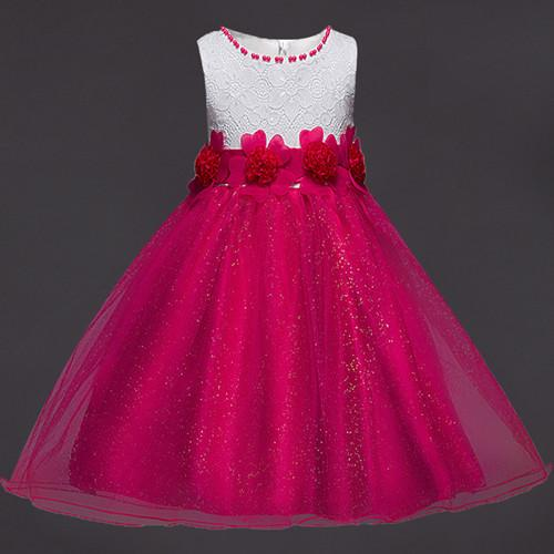 917f860fb Summer Flower Lace Girls Wedding Pageant Party Dresses Princess ...