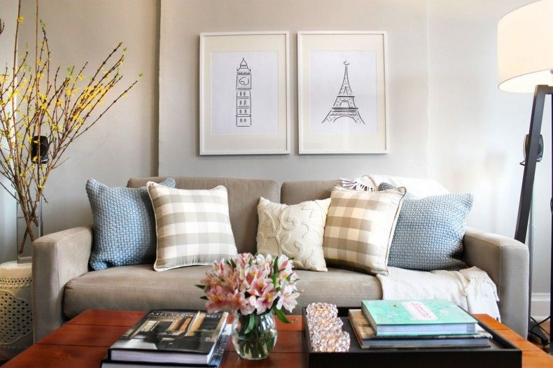 Blue and Grey Living Room: Living room with grey color ...