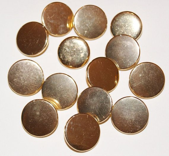 Gold Metal Buttons Lot of 14 Round Shank Shiny by scrapitsideways, $3.00
