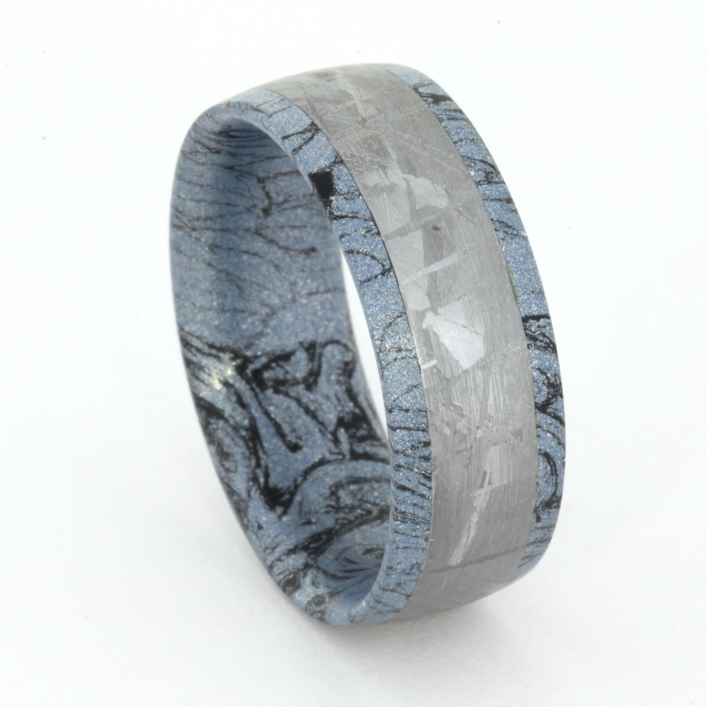 Mens Mokume Ring With Meteorite Band, Cobaltium Mokume