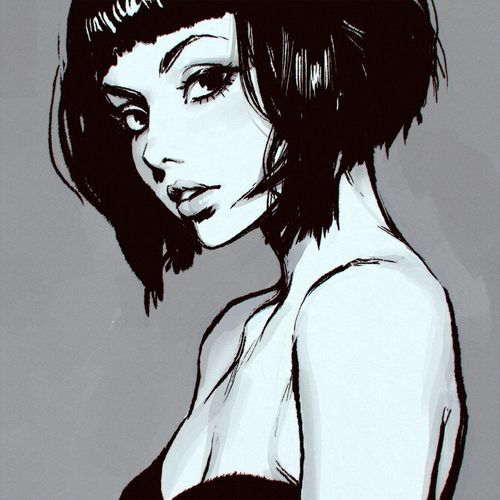 Short Hair Girl Drawing Sketchy Pinterest Draw Art And