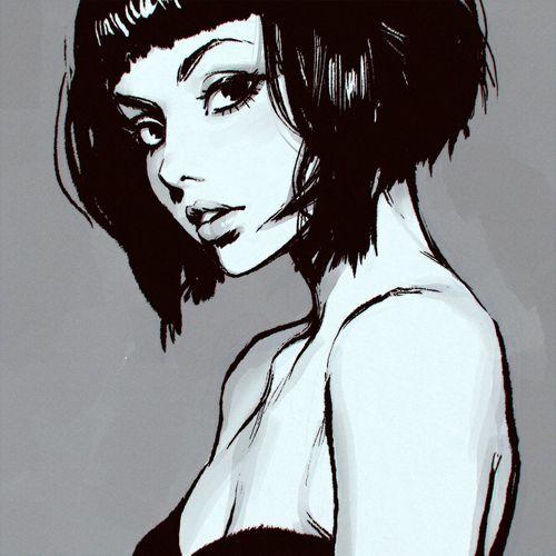 short hair girl drawing illustration