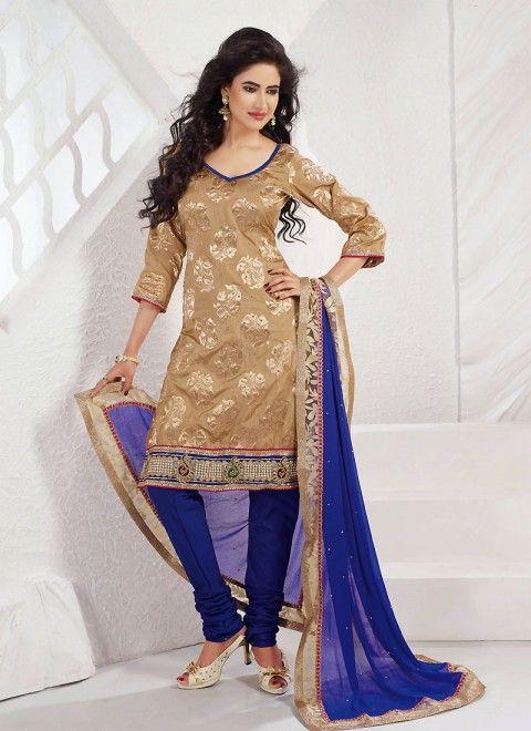 a06d55a2b56a7 Beige Nylon Jamawar Plus Size Salwar Kameez With Matching Dupatta ...