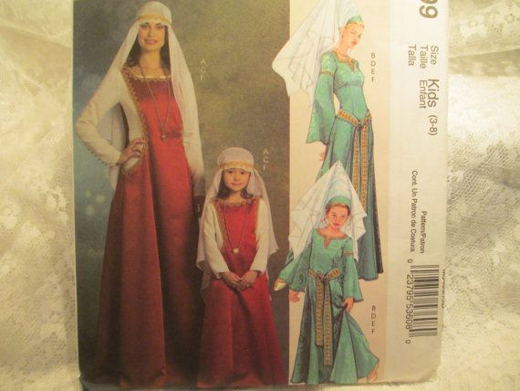 Ophelia S Renaissance Clothing: McCalls 5499 Girls And Women Medieval Princess By