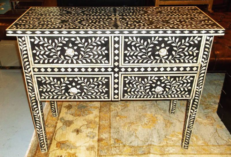 Lot 512 - Estimated £900 - £1200 - SIDE TABLE, ebonised and bone inlaid with allover leaf decoration containing four drawers, 74cm H x 90cm ...