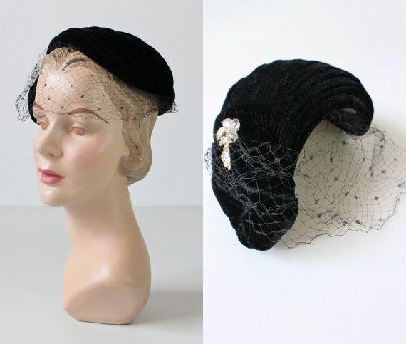 1950s Hat   50s Fascinator Hat   Black by TheVintageMistress d8660531286